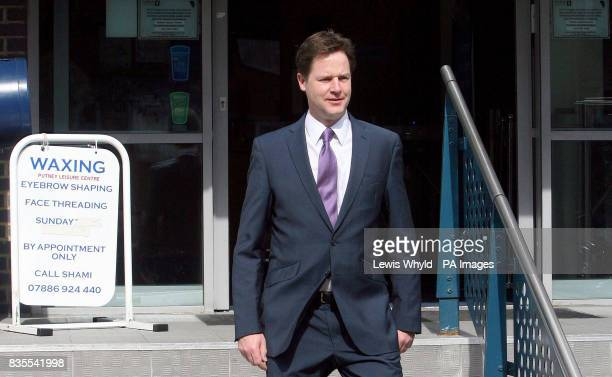 Lib Dem leader Nick Clegg leaves a polling station at Dryburgh Hall in Putney London after he voted in the European election