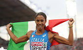 Libania Grenot of Italy celebrates winning the gold medal in the final of the womens 400m on day three of The 23rd European Athletics Championships...