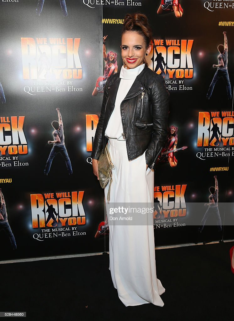 Libby Asciak arrives ahead of We Will Rock You Opening Night at Lyric Theatre, Star City on May 5, 2016 in Sydney, Australia.