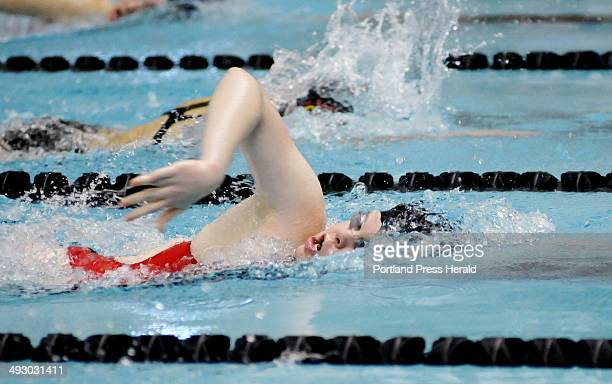Libby Gajewski of Catherine McAuley competes in the 500 yard freestyle during the Class B girls state swim meet prelims at Bowdoin College Tuesday...