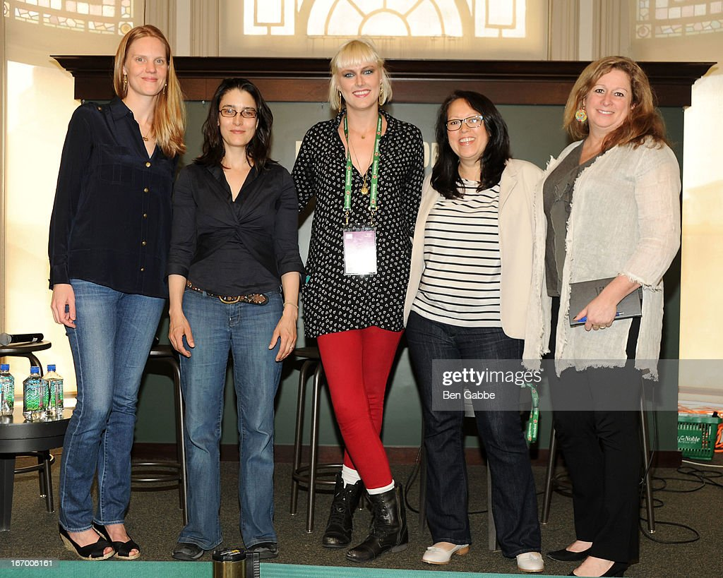 Libby Geist, Rachel Boynton, Laura Goode, Tanya Ager Meillier and Abigail Disney attend Tribeca Talks Pen To Paper: New Chick Flicks at Barnes & Noble Union Square on April 19, 2013 in New York City.