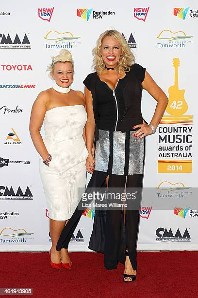 Libby O'Donovan and Beccy Cole arrive at the 42nd Country Music Awards Of Australia on January 25 2014 in Tamworth Australia The Tamworth Country...