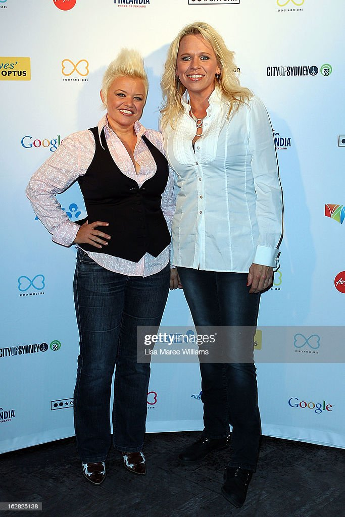 Libby O'Donovan and Beccy Cole pose during a Sydney Mardi Gras VIP photo call at the Kit and Kaboodle Bar on February 28, 2013 in Sydney, Australia.