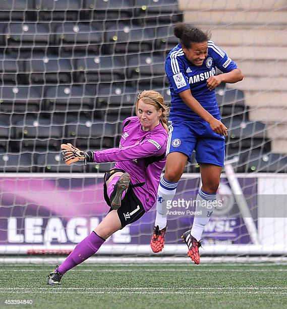 Libby Stout of Liverpool Ladies clears the ball during the WSL match between Liverpool Ladies v Chelsea Ladies at Select Security Stadium on August 9...