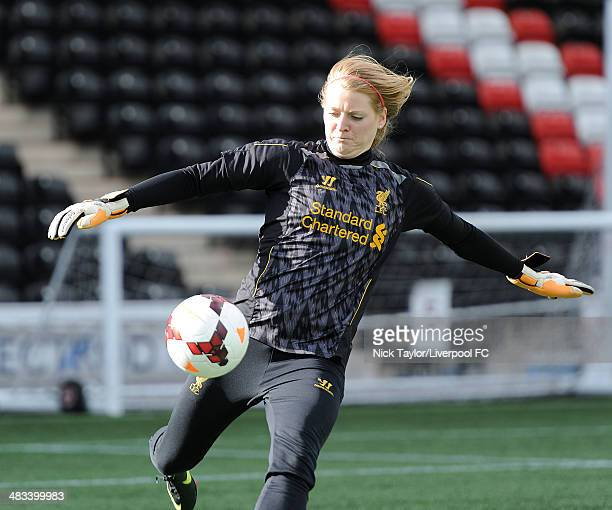 Libby Stout of Liverpool Ladies during a preseason training session at Select Security Stadium on March 21 2014 in Widnes England