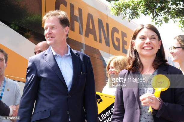 Liberal Democrat candidate for Richmond Sarah Olney and Nick Clegg MP during a rally at the Shiraz Mirza Community Hall on June 1 2017 in Kingston...