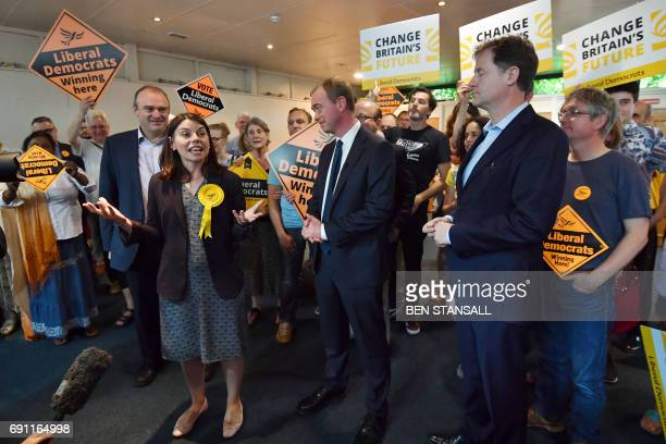Liberal Democrat candidate for Richmond Sarah Olney speaks during a campaign rally with activists and supporters in Kingston upon Thames southwest...