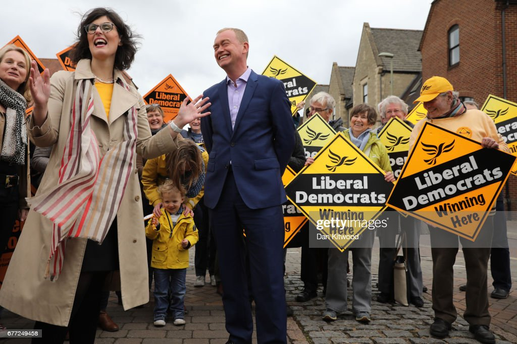 Liberal Democrat candidate for the constituency of Oxford West and Abingdon, Layla Moran (L) stands next to Liberal Democrat leader Tim Farron at a campaign event on May 3, 2017 in Kidlington, a village outside of Oxford, England. The country goes back to the polls for the second time in two years as a general election is held on June 8.