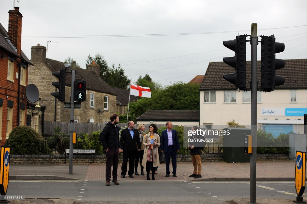 Liberal Democrat candidate for the constituency of Oxford West and Abingdon, Layla Moran, and Liberal Democrat leader Tim Farron canvass in the local area after a campaign event on May 3, 2017 in Kidlington, a village outside of Oxford, England. The country goes back to the polls for the second time in two years as a general election is held on June 8.