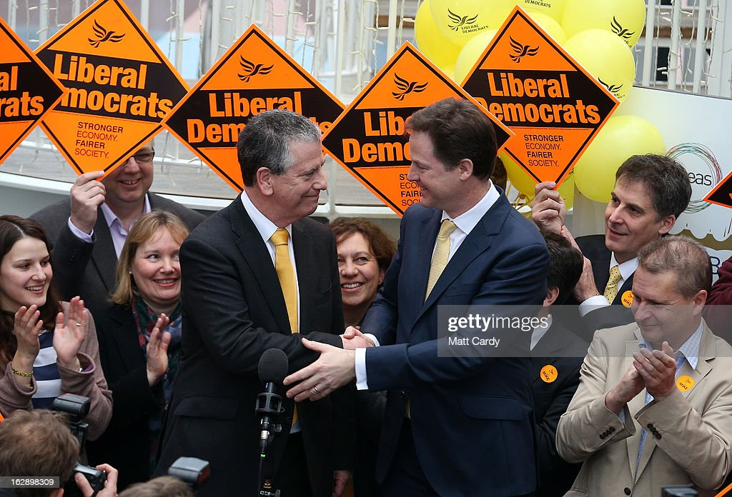 Liberal Democrat candidate Mike Thornton celebrates his win with party leader <a gi-track='captionPersonalityLinkClicked' href=/galleries/search?phrase=Nick+Clegg&family=editorial&specificpeople=579276 ng-click='$event.stopPropagation()'>Nick Clegg</a> at the Hampshire Cricket County on March 1, 2013 in Eastleigh, Hampshire. The Liberal Democrat party managed to retain the seat of ex-Liberal Democrat MP Chris Huhne however UKIP managed to beat the Conservatives to second place.