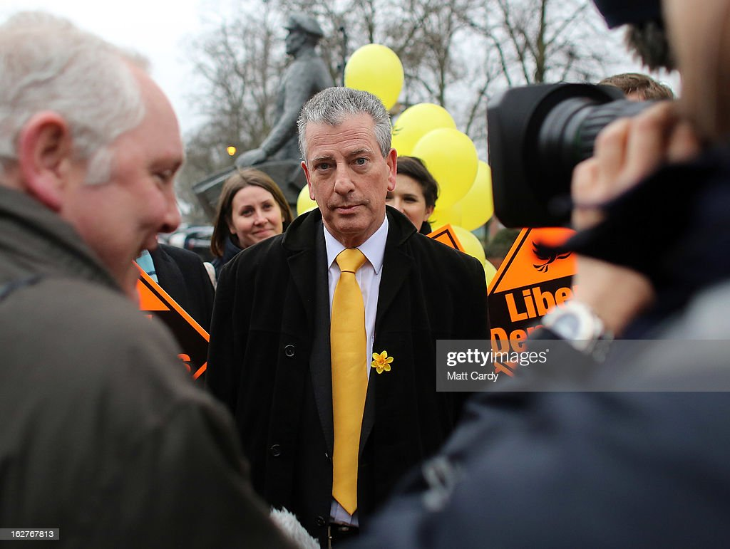 Liberal Democrat candidate Mike Thornton speaks with television and newspaper reporters as he campaigns in the forthcoming by-election on February 26, 2013 in Eastleigh, England. The by-election is being fought for the former seat of ex-Liberal Democrat MP Chris Huhne and will be held on February 28, 2013.