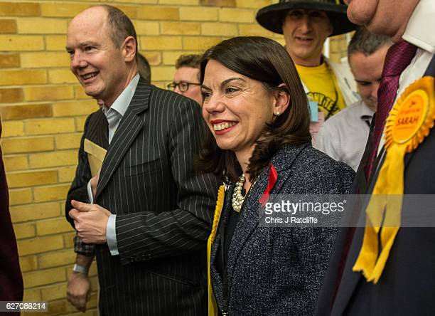 Liberal Democrat candidate Sarah Olney arrives at the Richmond Park byelection count at Richmond Upon Thames College on December 2 2016 in London...