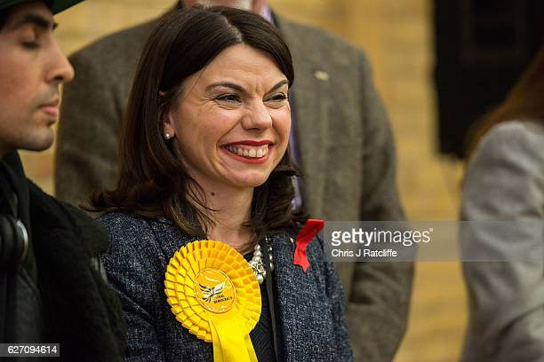 Liberal Democrat candidate Sarah Olney reacts whilst being announced as the winner of the Richmond Park byelection at Richmond Upon Thames College on...