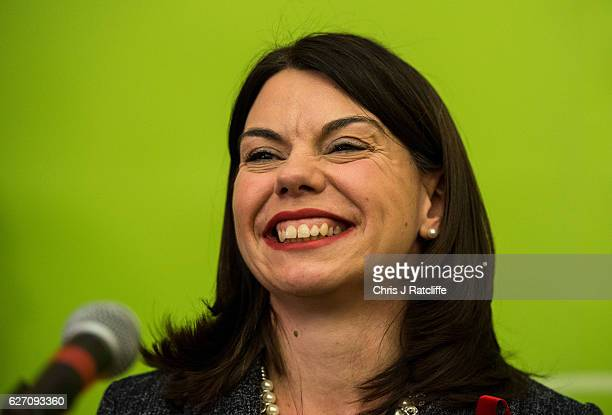 Liberal Democrat candidate Sarah Olney speaks onstage after winning the Richmond Park byelection at Richmond Upon Thames College on December 2 2016...