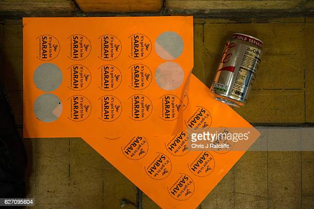 Liberal Democrat candidate Sarah Olney supporter stickers at the Richmond Park byelection count at Richmond Upon Thames College on December 2 2016 in...