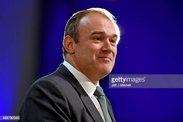 Liberal Democrat Energy Secretary Ed Davey addresses the Liberal Democrat Autumn conference on October 7 2014 in Glasgow Scotland The energy...