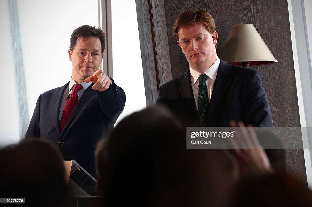 Liberal Democrat leader and deputy Prime Minister, <a gi-track='captionPersonalityLinkClicked' href=/galleries/search?phrase=Nick+Clegg&family=editorial&specificpeople=579276 ng-click='$event.stopPropagation()'>Nick Clegg</a> (L), gestures during a press conference with Chief Secretary to the Treasury, <a gi-track='captionPersonalityLinkClicked' href=/galleries/search?phrase=Danny+Alexander+-+Politician&family=editorial&specificpeople=6897330 ng-click='$event.stopPropagation()'>Danny Alexander</a>, at the Shangri-La Hotel on February 5, 2015 in London, England. The pair laid out the Liberal Democrats fiscal plans for the next Parliament.