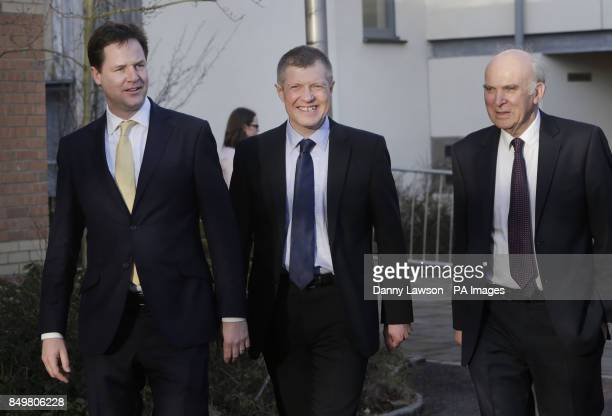 Liberal Democrat leader and Deputy Prime Minister Nick Clegg Leader Scottish Liberal Democrats Willie Rennie and Business Secretary Vince Cable...