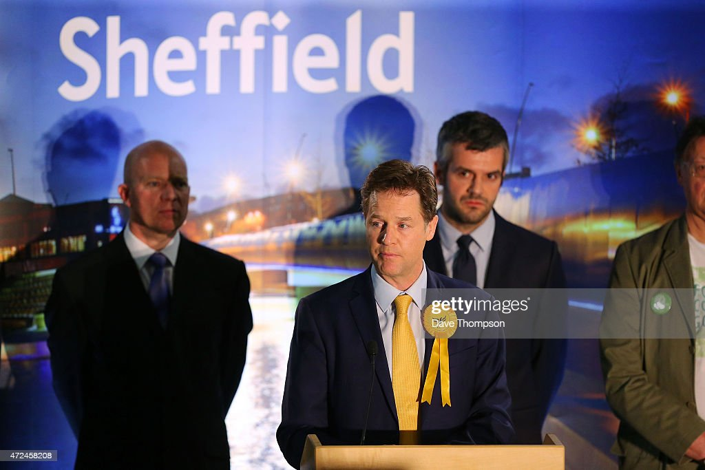 Liberal Democrat leader and Deputy Prime Minister Nick Clegg speaks at his constituency declaration at the English Institute of Sport on May 8 2015...