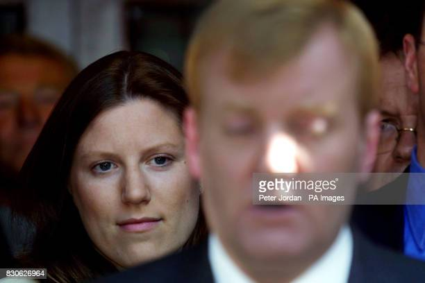 Liberal Democrat leader Charles Kennedy and his girlfriend Sarah Gurling outside the party's headquarters in Westminster London Party chiefs and...