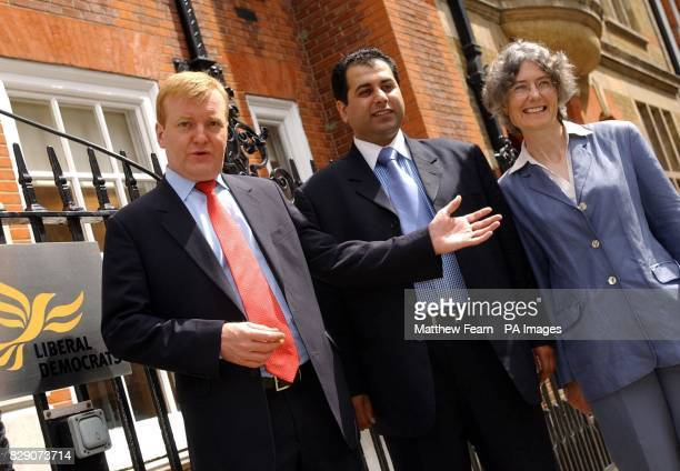 Liberal Democrat leader Charles Kennedy with the party's new MEPs Sajjad Karim and Fiona Hall outside the party' s headquarters in central London Mr...