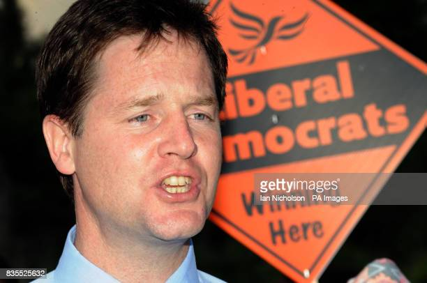 Liberal Democrat leader Nick Clegg addresses a meeting at Coxheath Village Hall in Kent attended by Gurkha veterans and their families to celebrate...