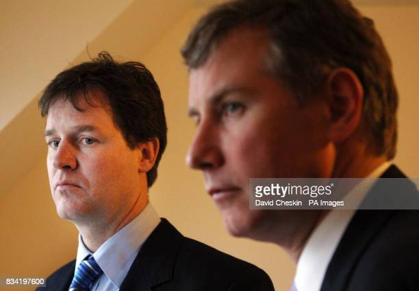 UK Liberal Democrat leader Nick Clegg and Scottish Liberal Democrat leader Nicol Stephen look around a affordable and sustainable new two bedroom...