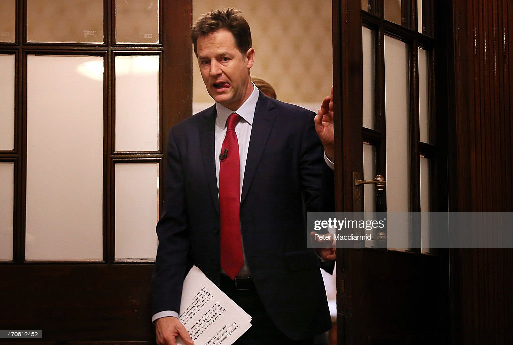 Liberal Democrat leader Nick Clegg arrives to speak to reporters at The National Liberal Club on April 22 2015 in London England Mr Clegg has...