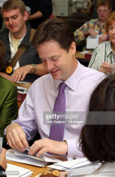 Liberal Democrat Leader Nick Clegg carries out paperwork at the Party's Norwich HQ ahead of the Norwich North byelection later this month