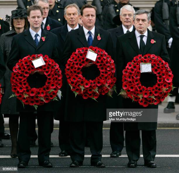 Liberal Democrat Leader Nick Clegg MP Conservative Party Leader David Cameron MP and Prime Minister Gordon Brown attend the Remembrance Sunday...