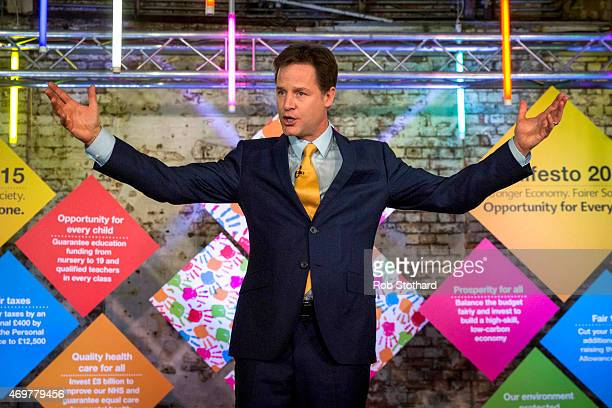 Liberal Democrat leader Nick Clegg speaks at the launch of his party's manifesto for the 2015 general election at TestBed1 in Battersea on April 15...