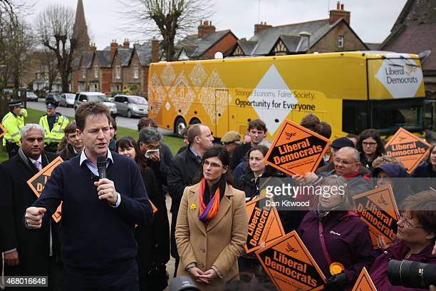 Liberal Democrat leader Nick Clegg speaks to activists as he launches the party's General Election 2015 campaign on March 29 2015 in Abingdon England...