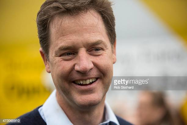 Liberal Democrat leader Nick Clegg speaks to party activists at Paradise Park garden centre on May 3 2015 in Newhaven England Britain goes to the...