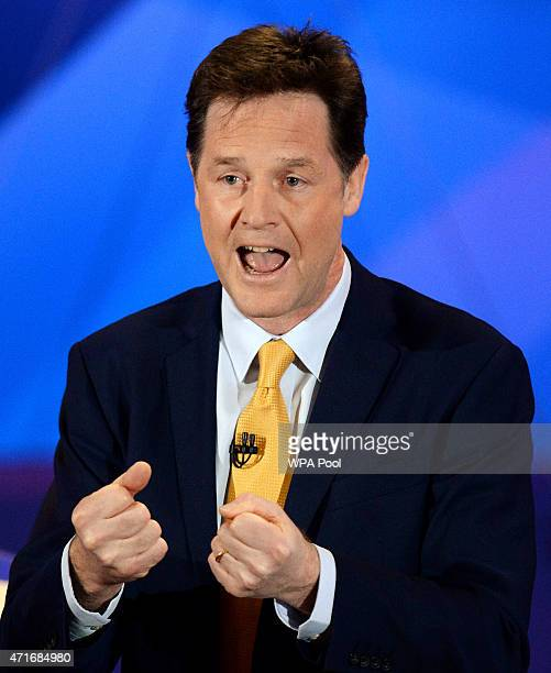 Liberal Democrat leader Nick Clegg takes part in a special BBC Question Time programme with the three main party leaders appearing separately at...