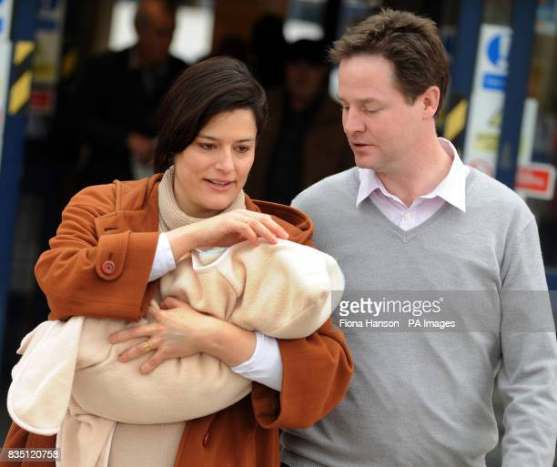 Liberal Democrat Leader Nick Clegg with his wife Miriam Gonzalez Durantez holding their new son Miguel who is their third child leaving Kingston...