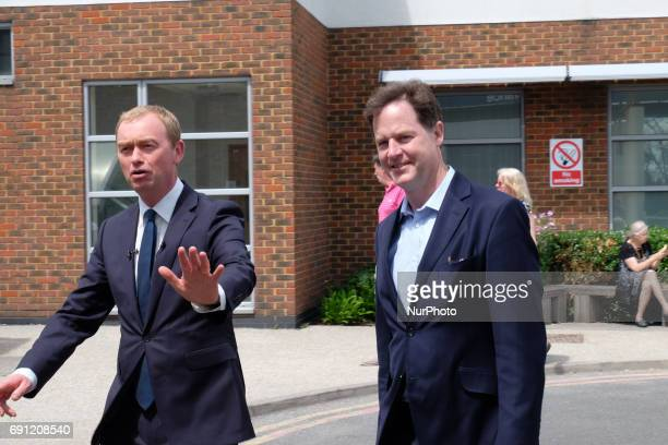 Liberal Democrat leader Tim Farron and former leader Nick Clegg visit Kingston Hospital in West London where they met staff from the EU before...