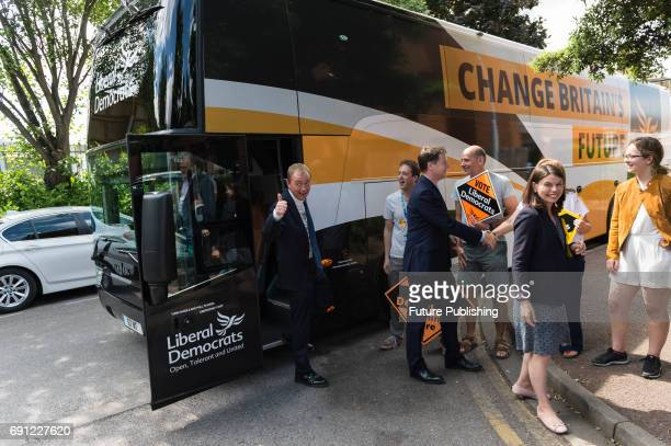 Liberal Democrat leader Tim Farron and Nick Clegg the former leader of the party arrive for the rally at the Shiraz Mirza Community Hall after...