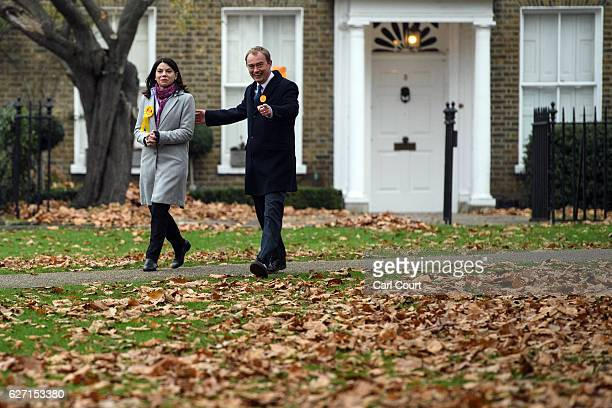 Liberal Democrat leader Tim Farron and Sarah Olney make their way to speak with waiting media following Olney's victory in the Richmond Park...