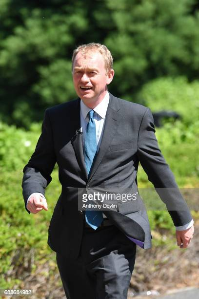Liberal Democrat leader Tim Farron arrives to visit the Tim Parry Jonathan Bell Foundation For Peace on May 26 2017 in Warrington England The main...