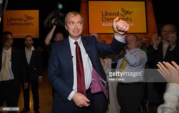 Liberal Democrat leader Tim Farron is congratulated as he leaves the main hall following his leader's speech on the final day of the Liberal...