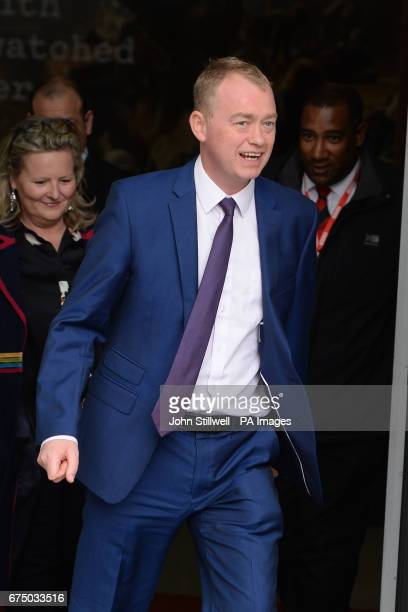 Liberal Democrat leader Tim Farron leaves BBC Broadcasting House in London after appearing on The Andrew Marr Show