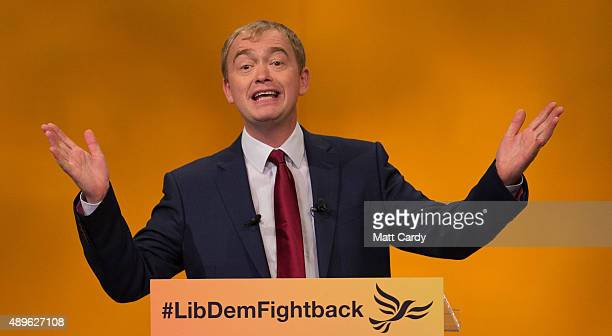 Liberal Democrat leader Tim Farron makes his leader's speech on the final day of the Liberal Democrats annual conference on September 23 2015 in...