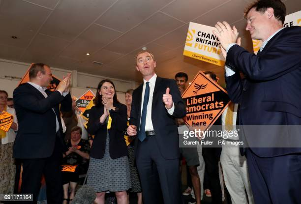 Liberal Democrat leader Tim Farron Nick Clegg with local Liberal Democrat candidates Ed Davey and Sarah Olney during a General Election campaign...