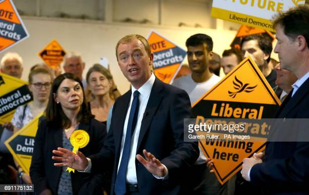 Liberal Democrat leader Tim Farron Nick Clegg with local Liberal Democrat candidate Sarah Olney during a General Election campaign rally at the...