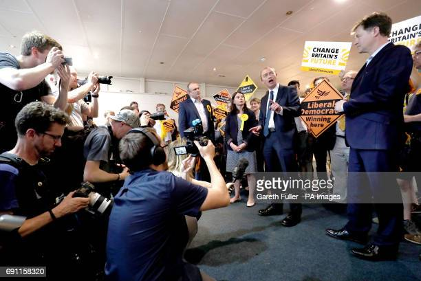Liberal Democrat leader Tim Farron speaks as Nick Clegg and local Liberal Democrat candidates Ed Davey and Sarah Olney listen during a General...