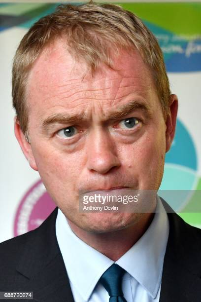 Liberal Democrat leader Tim Farron speaks to media during a visit to the Tim Parry Jonathan Bell Foundation For Peace on May 26 2017 in Warrington...