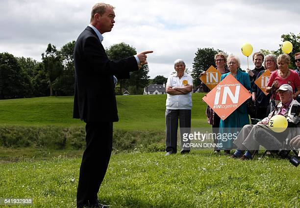 Liberal Democrat Leader Tim Farron speaks to supporters as he campaigns for a vote to remain in the EU in Carshalton south of London on June 21 2016...