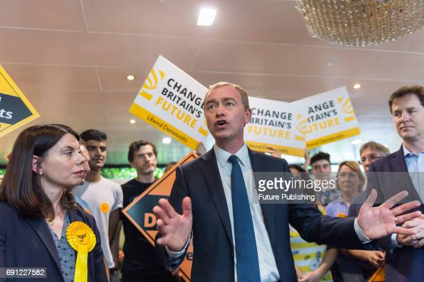 Liberal Democrat leader Tim Farron the party's candidate for Richmond Park Sarah Olney and Nick Clegg the former leader of the party take part in the...