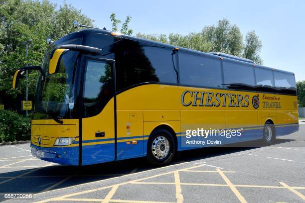 Liberal Democrat leader Tim Farron travels in an unbranded bus following a visit to the Tim Parry Jonathan Bell Foundation For Peace on May 26 2017...