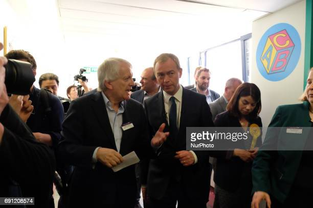 Liberal Democrat leader Tim Farron visit Kingston Hospital in West London where they met staff from the EU before holding a campaign rally